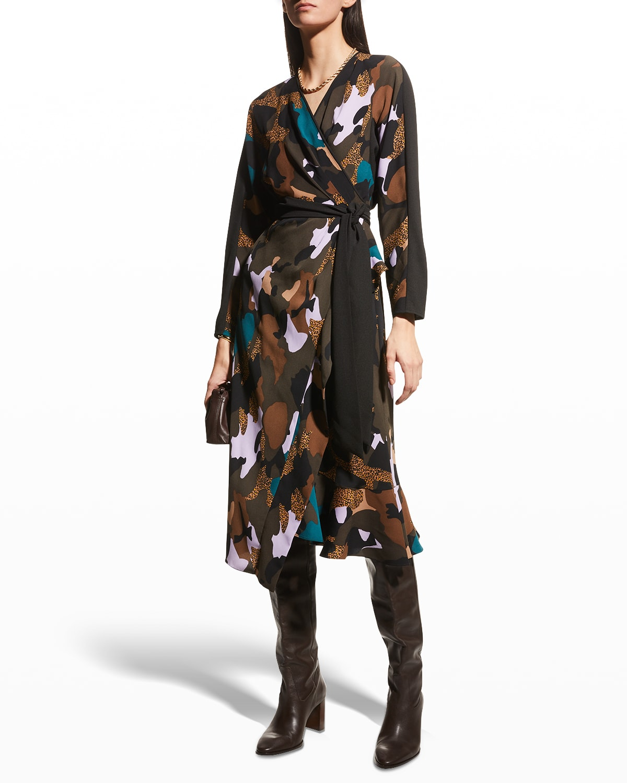 Tulisa Printed Midi Wrap Dress