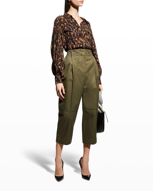 Parvati Puff-Sleeve Leopard Camo Top