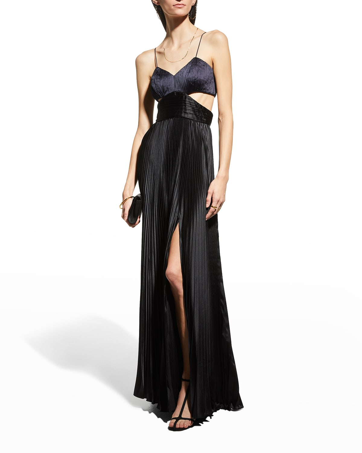Elodie Pleated Long Cutout Gown