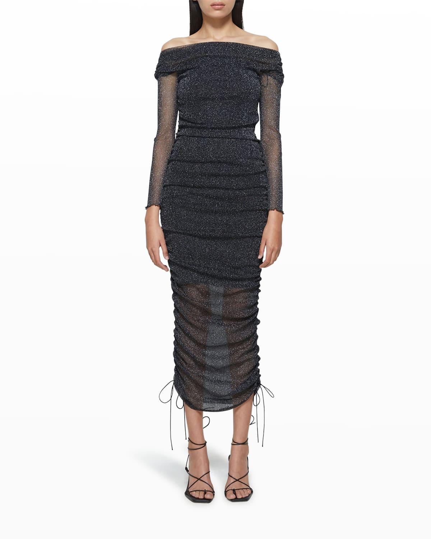 Alyssa Off-the-Shoulder Shimmer Tulle Dress