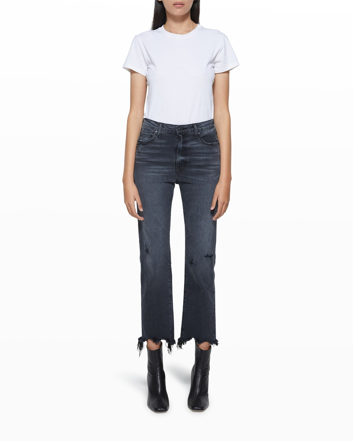 River High-Rise Distressed Crop Jeans