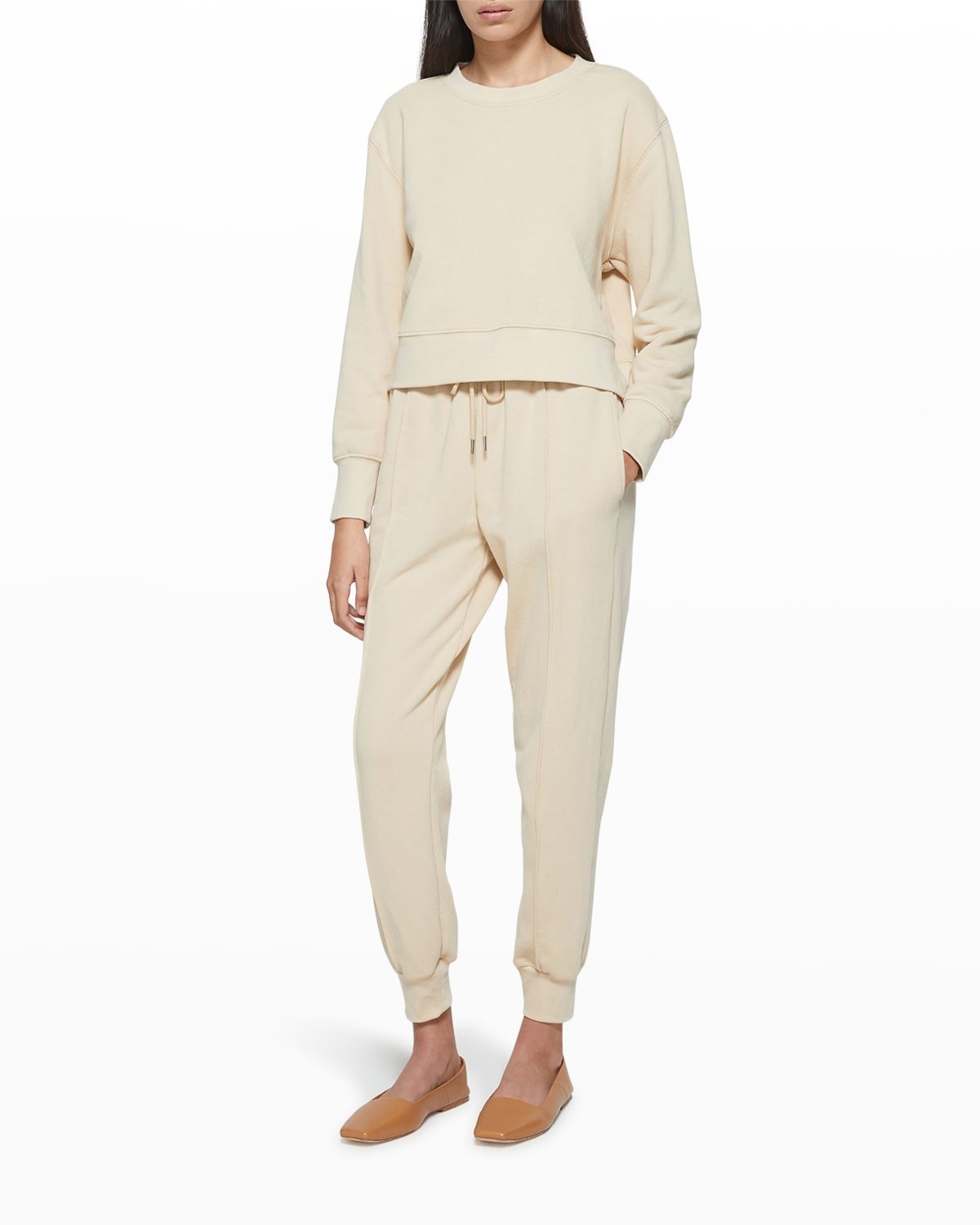 Jordi Organic Terry Cropped Pullover Top