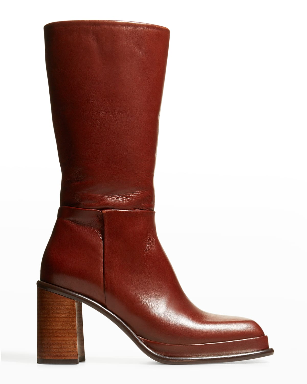 Abril Leather Square-Toe Mid Boots