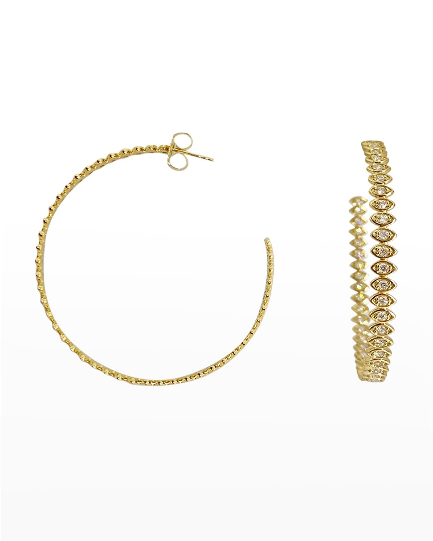 Sydney Evan 18k Yellow Gold & Diamond Evil Eye Hoop Earrings
