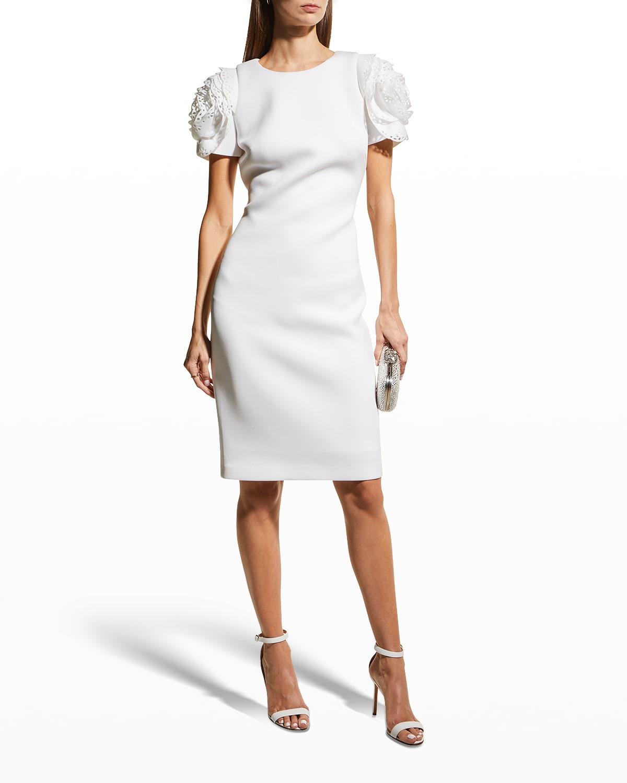 Laser-Cut Rosette-Sleeve Scuba Dress