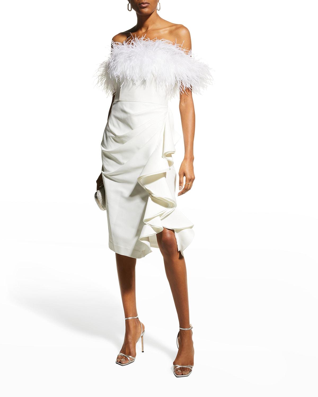 Off-Shoulder Feather-Trim Sheath Dress