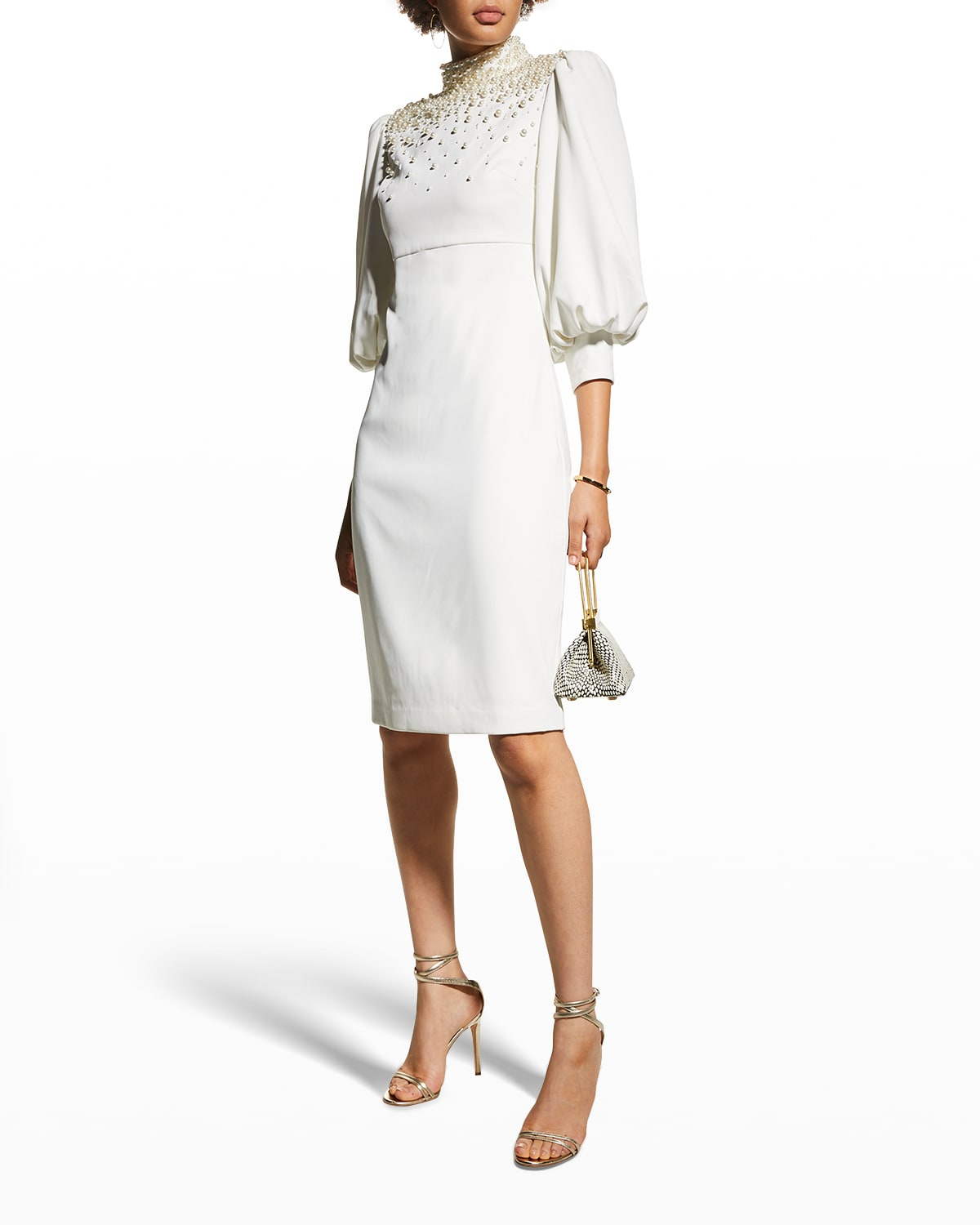 Pearly Mock-Neck Puff-Sleeve Crepe Dress