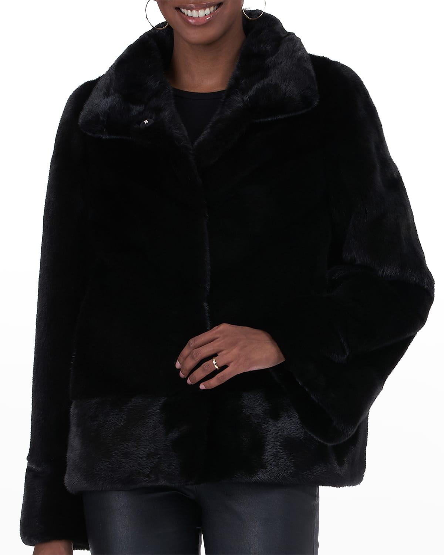 Chevron Mink Fur Jacket