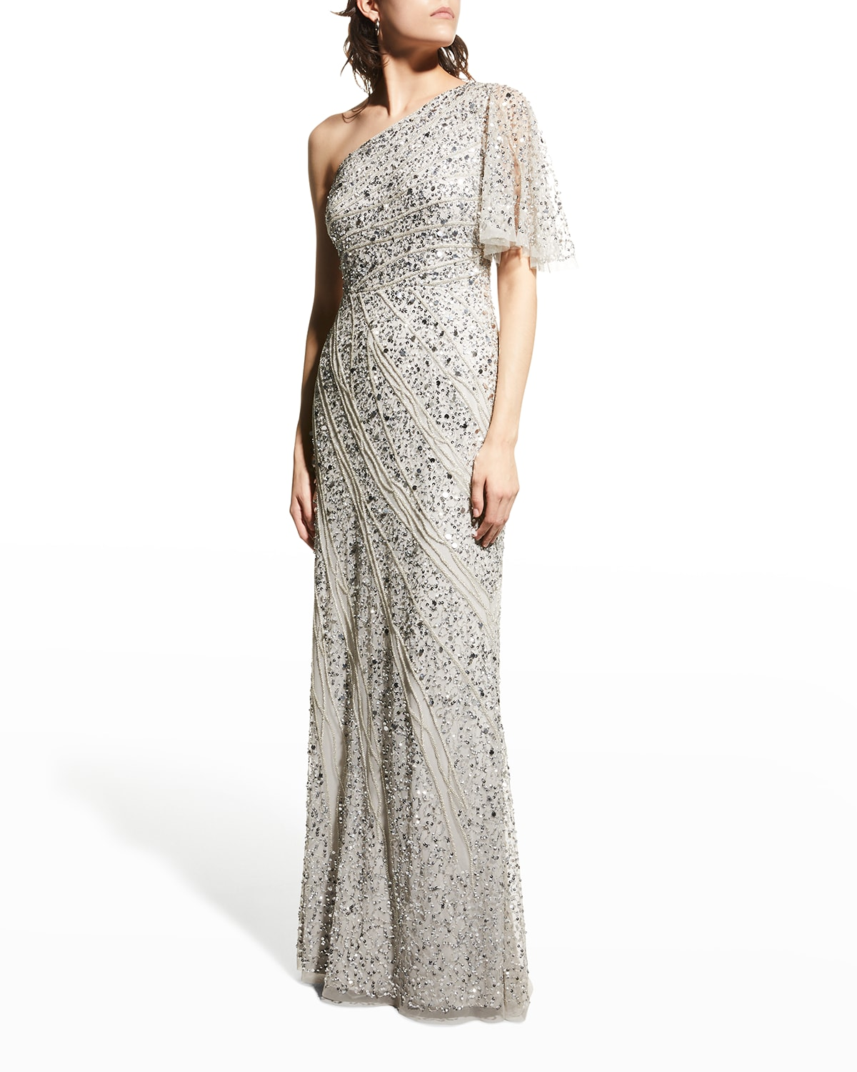 Beaded One-Shoulder Column Gown