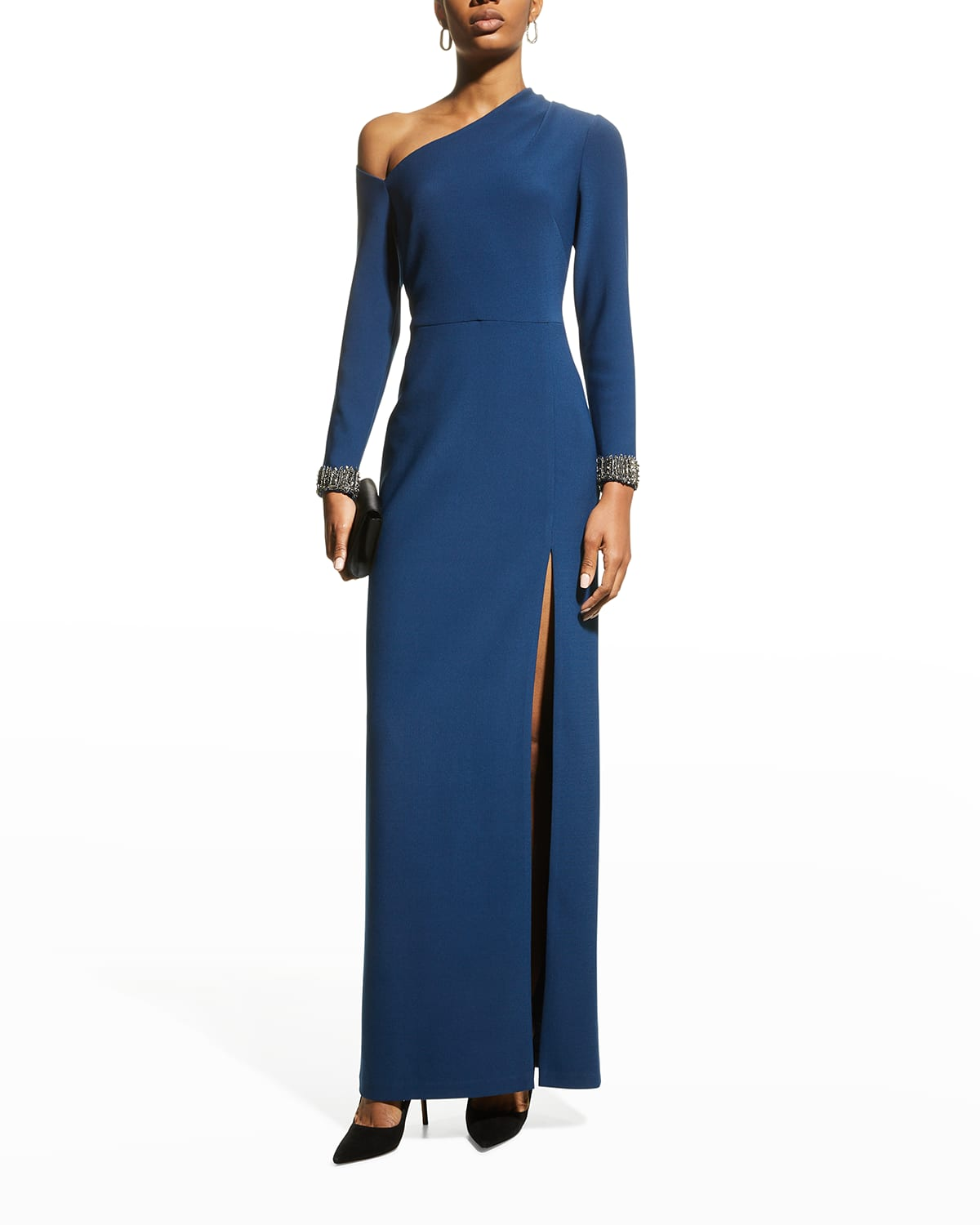Beaded-Cuff Asymmetric Crepe Gown