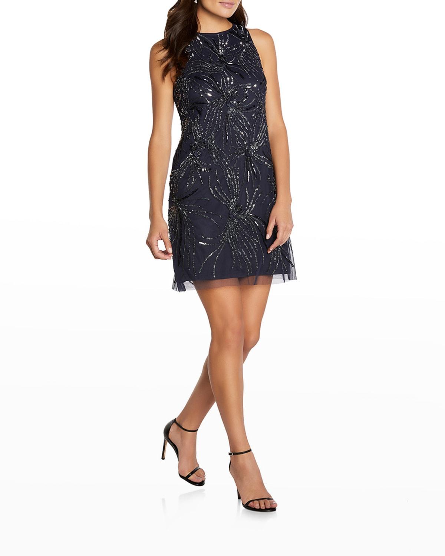 Beaded Tulle Mini Dress