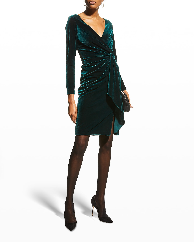 Long-Sleeve Velvet Twist Dress