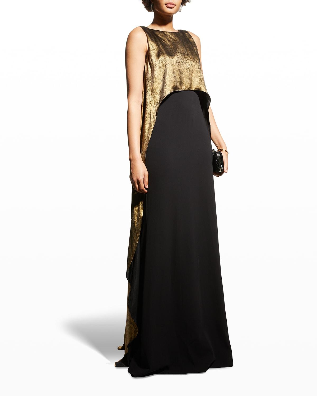Metallic Overlay Sleeveless Gown