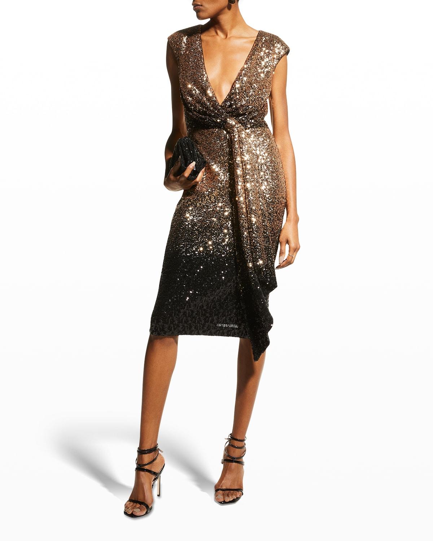 Ombre Sequin Cap-Sleeve Tie Dress