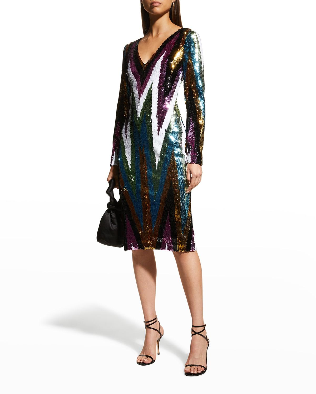 Multicolor Sequin Chevron Dress