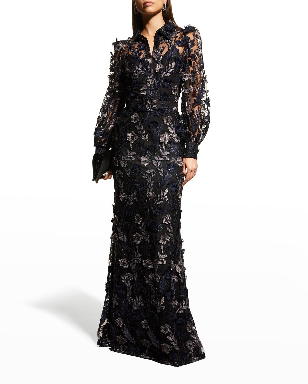 Floral Lace Applique Shirtdress Gown