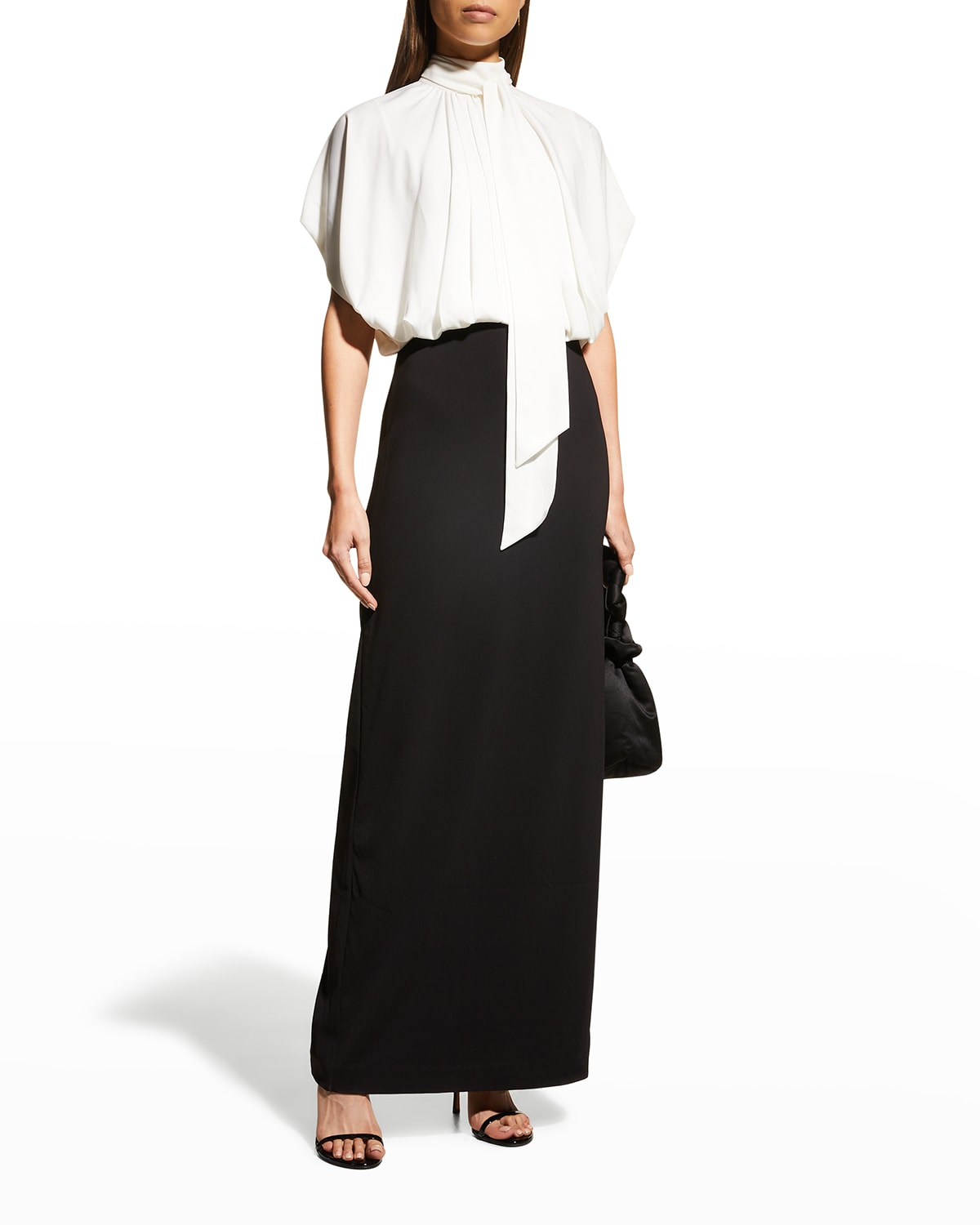 Two-Tone Blouson Gown w/ Crepe Skirt