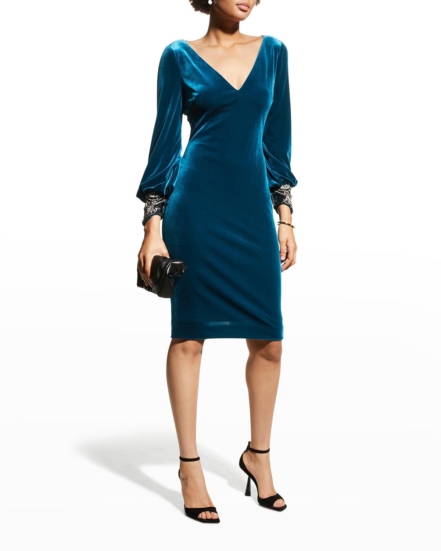 V-Neck Beaded-Cuff Velvet Dress