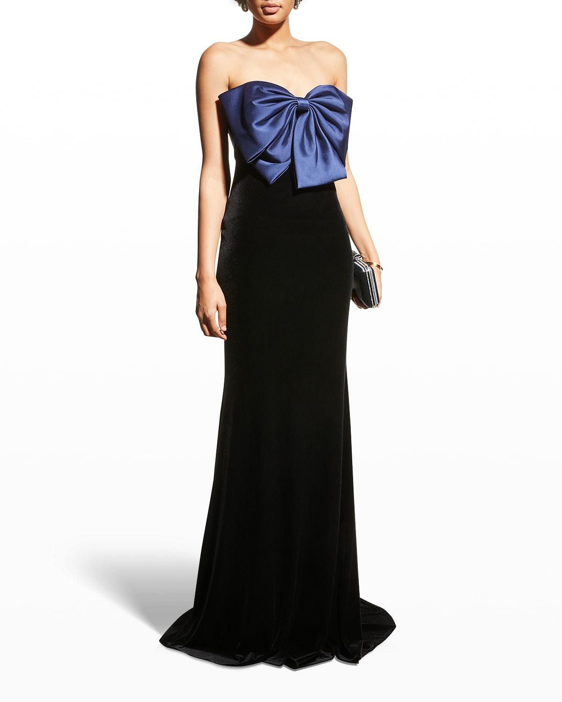 Bow-Front Strapless Velvet Gown