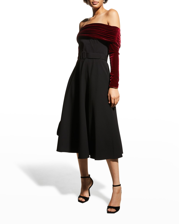 Off-Shoulder Crepe & Velvet Combo Dress