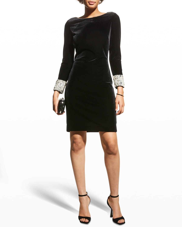 Pearl-Cuff Velvet Sheath Dress