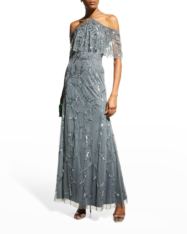 Cold-Shoulder Beaded Halter Gown