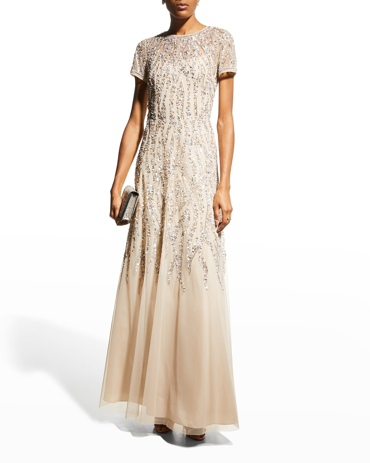 Short-Sleeve Beaded A-Line Gown