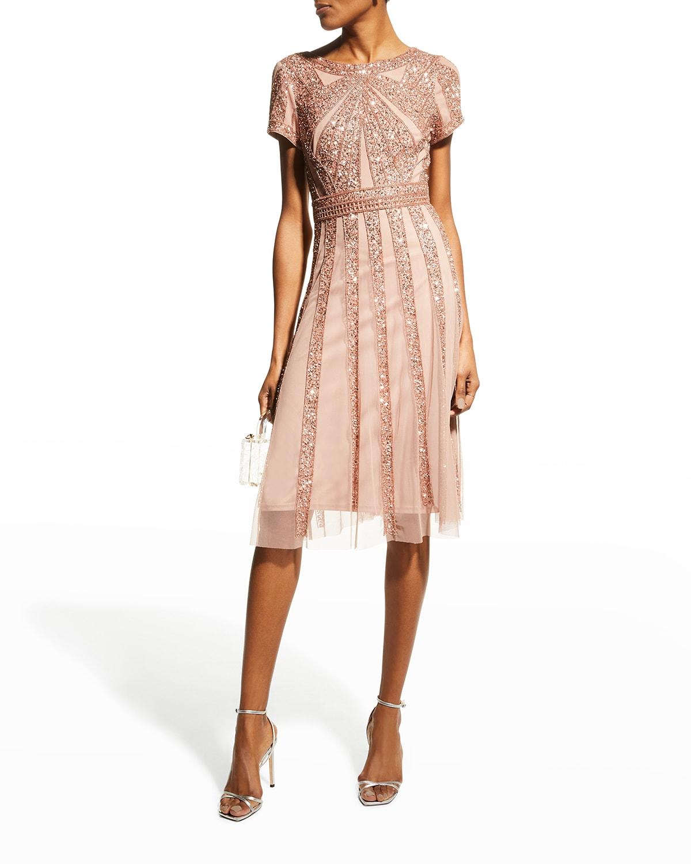 Beaded Short-Sleeve A-Line Dress