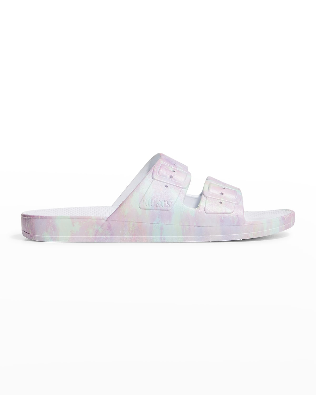 Multicolored Faux Dual-Buckle Slide Sandals