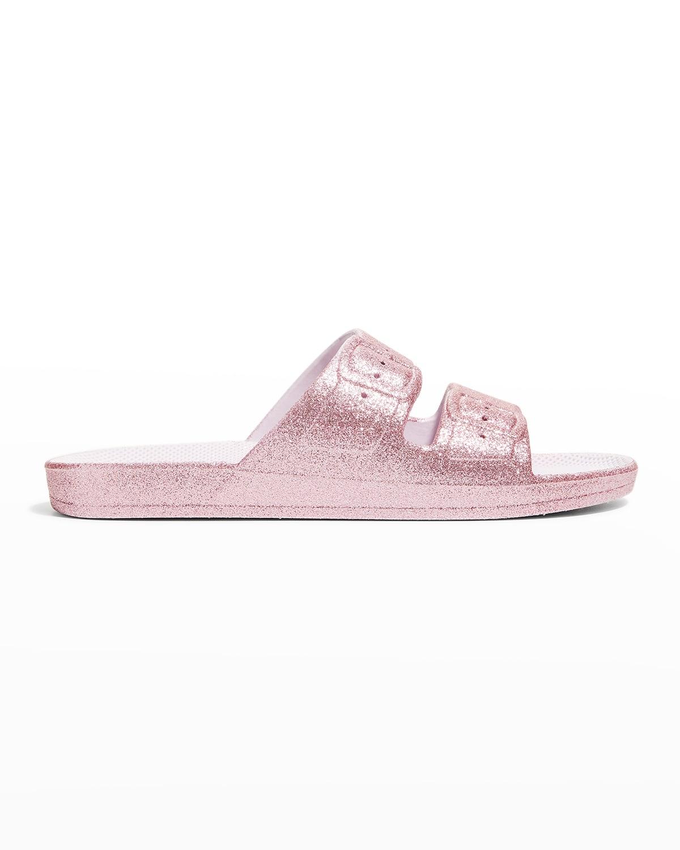 Glittered Faux Dual-Buckle Slide Sandals
