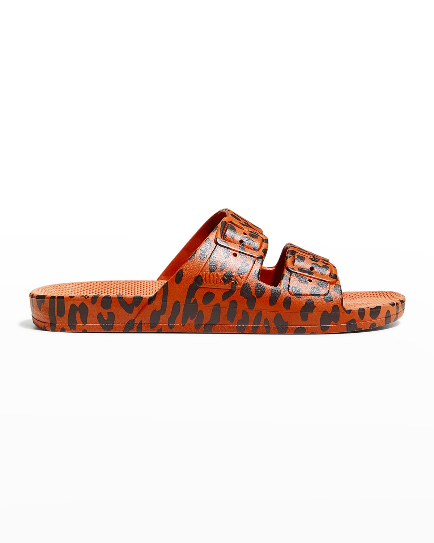 Animal-Print Faux Dual-Buckle Slide Sandals