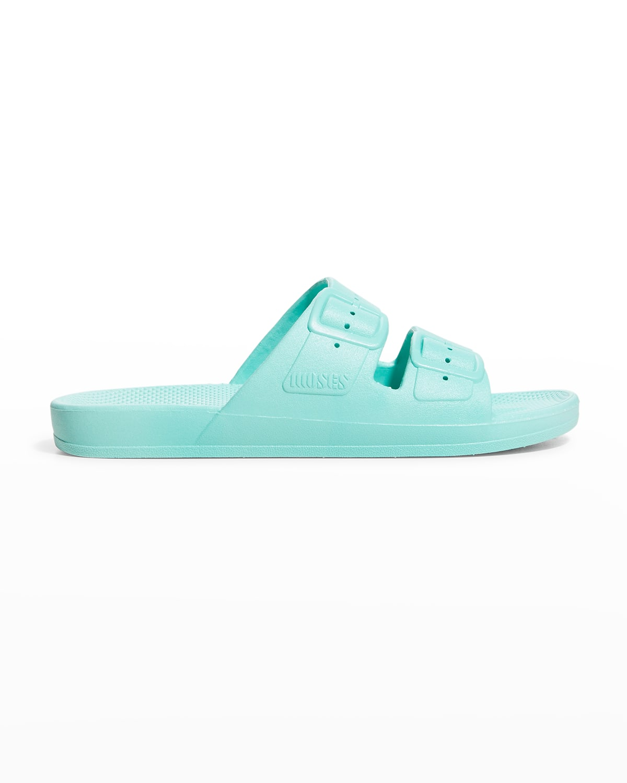 Faux Dual-Buckle Slide Sandals