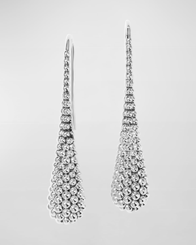 Caviar Domed Silver Drop Earrings