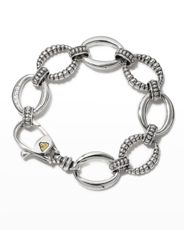 Smooth & Fluted Caviar Link Bracelet