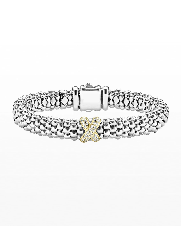 Silver Caviar Bracelet with 18k Diamond X