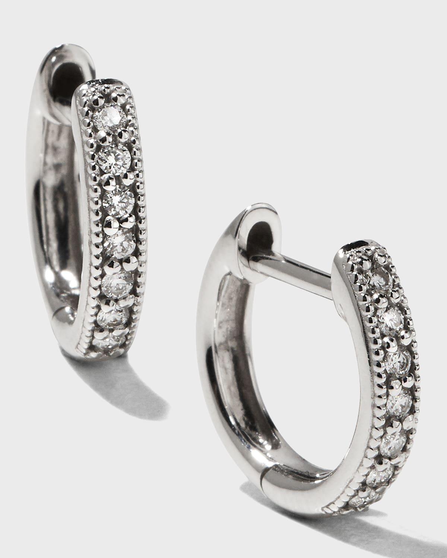 Small 18K White Gold Huggie Hoop Earrings with Diamonds