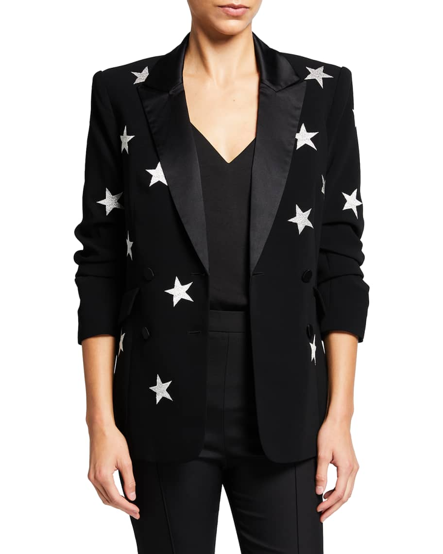 cinq a sept Lila Star-Print Double-Breasted Crepe Blazer   Neiman Marcus