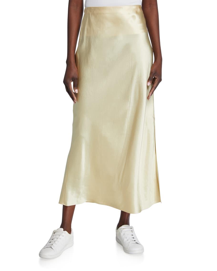 Satin Side-Slit Long Slip Skirt | Neiman Marcus