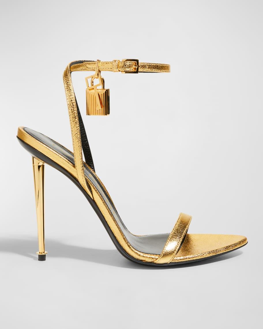 105mm Lock Metallic Stiletto Sandals   Neiman Marcus