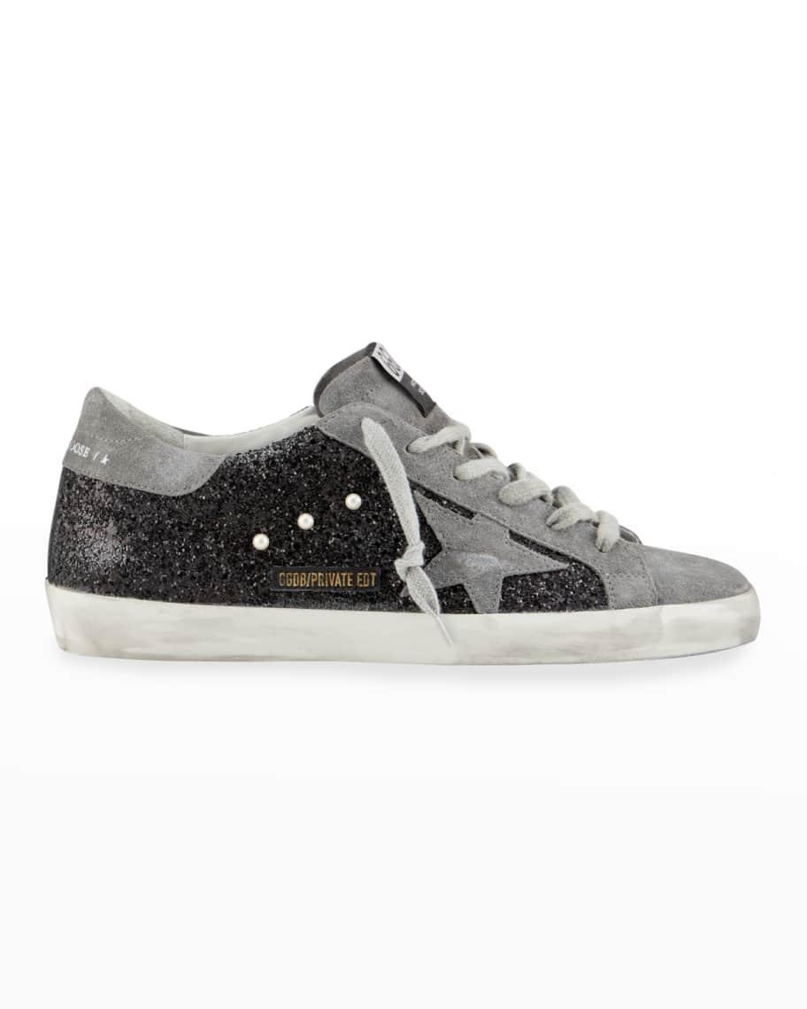 Superstar Suede Glitter Sneakers | Neiman Marcus
