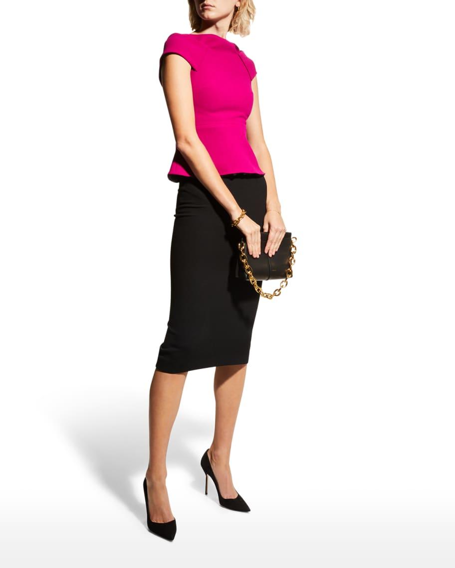 Arreton Back-Zip Wool Crepe Pencil Skirt   Neiman Marcus