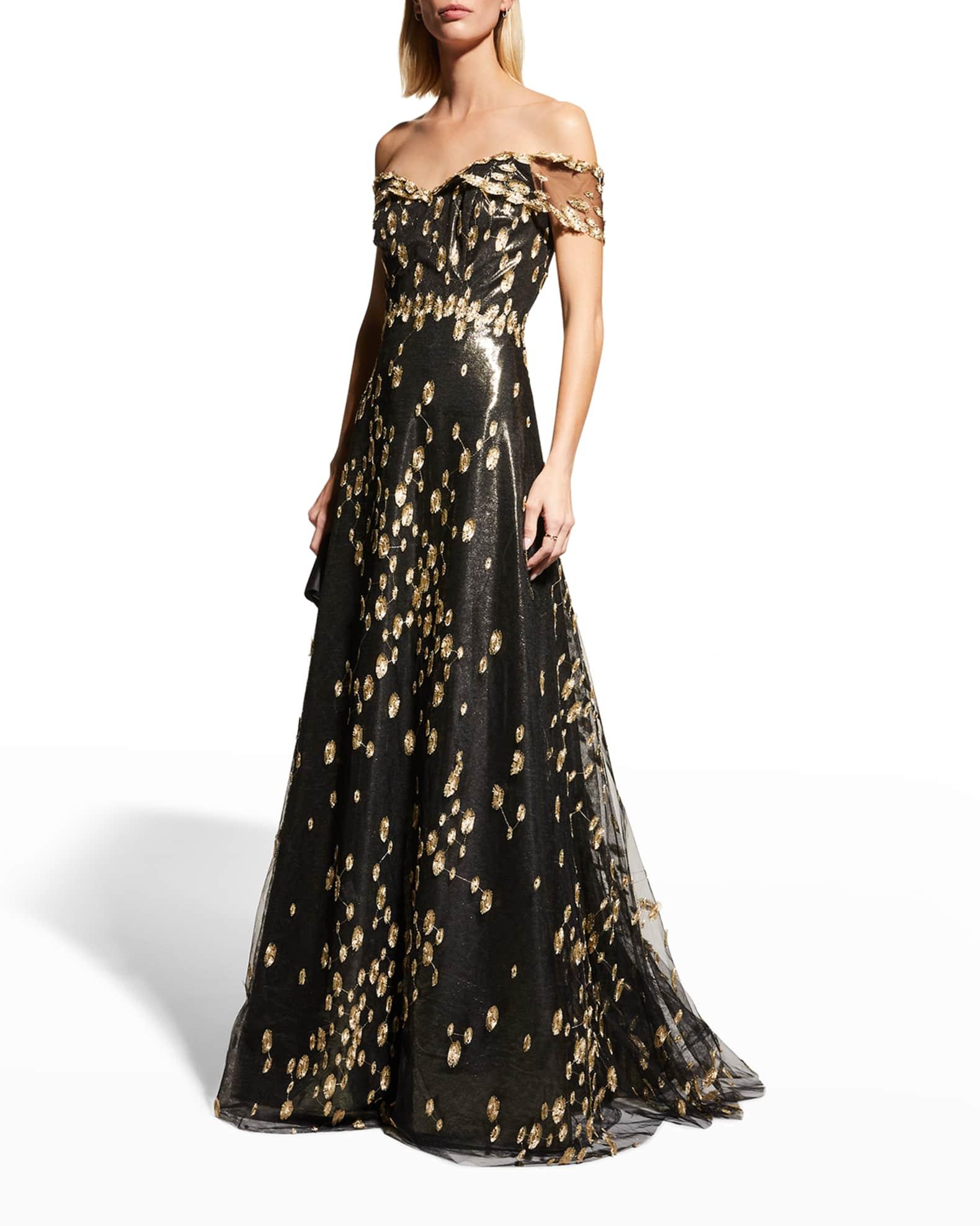 RENE RUIZ Off-Shoulder Metallic A-Line Gown