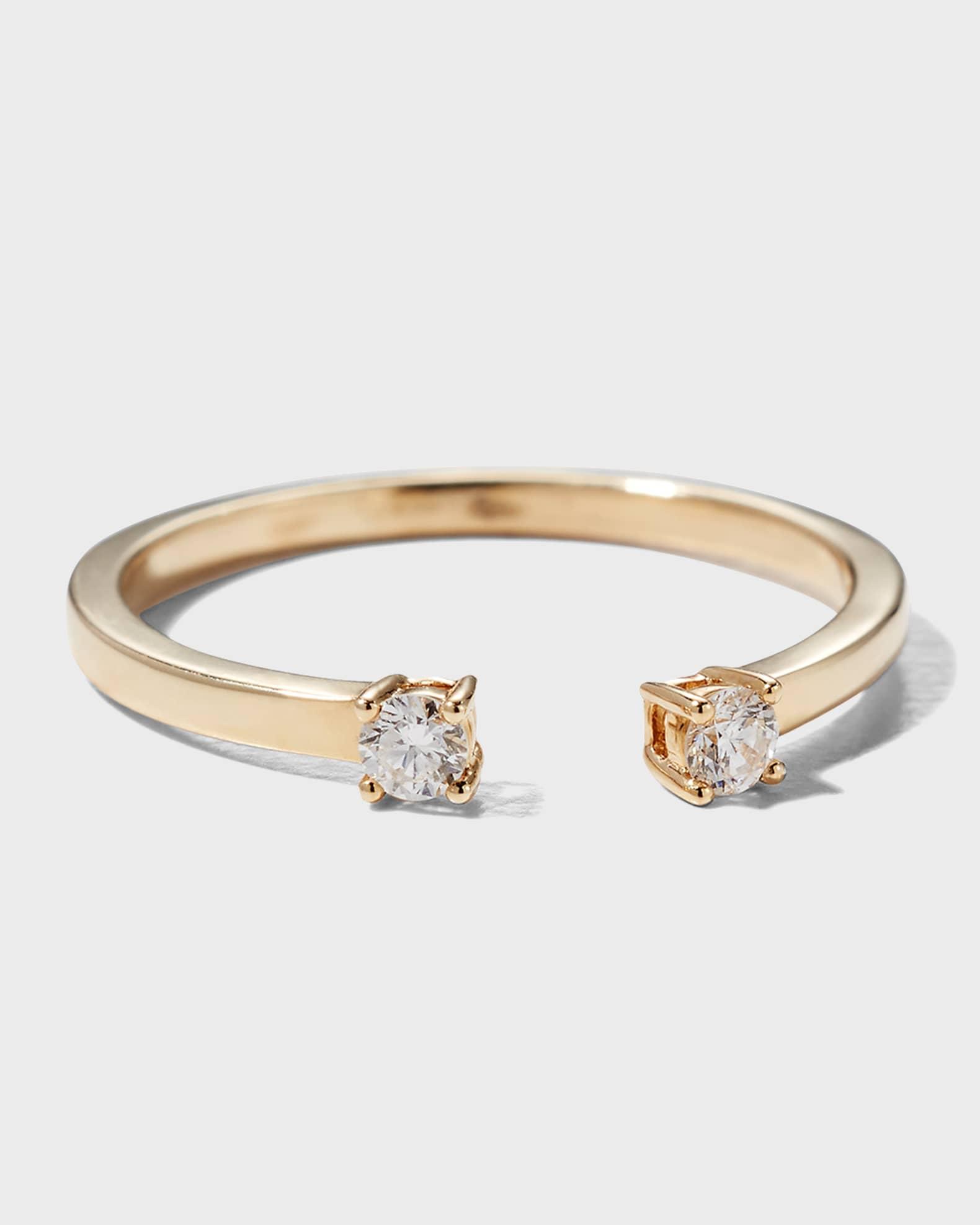 Lana Echo 14k Gold Diamond Round Ring | Neiman Marcus