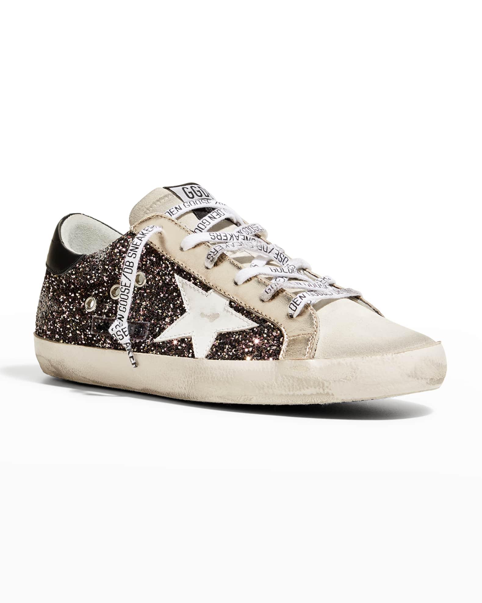 Golden Goose Superstar Glitter Logo-Lace Sneakers | Neiman Marcus
