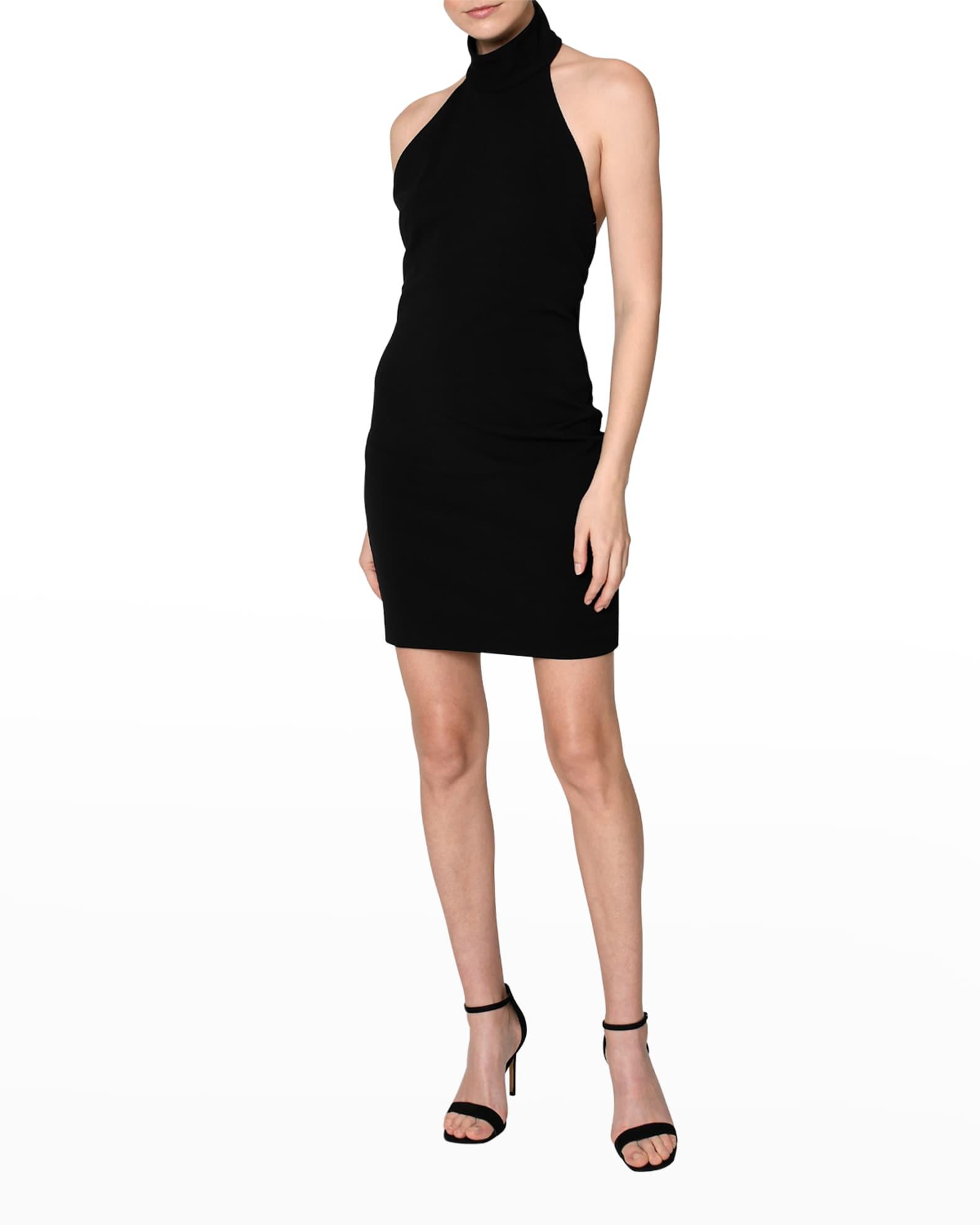 NICOLE MILLER Mock-Neck Heavy Jersey Mini Dress