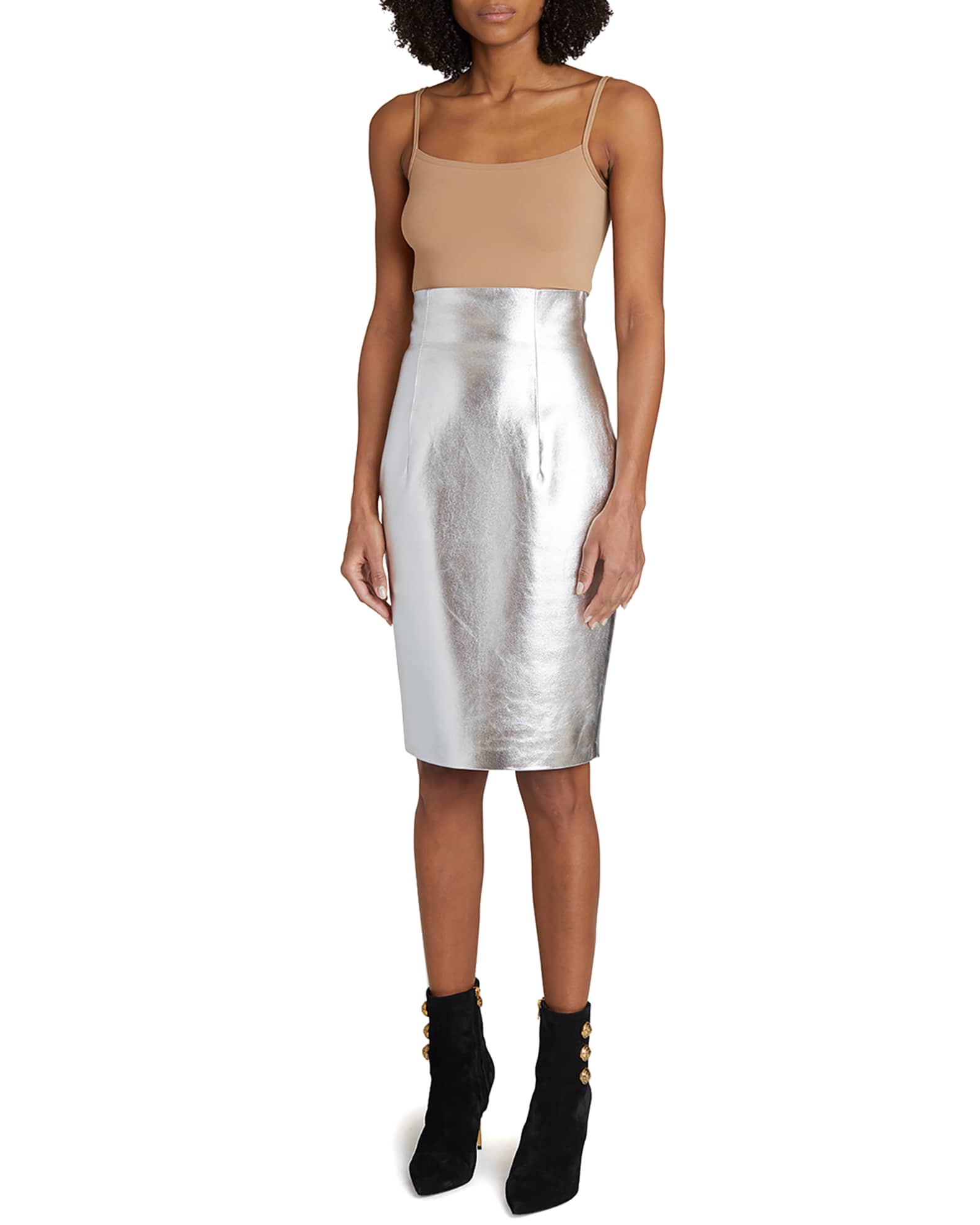 BALMAIN Silver Metallic Leather Pencil Skirt