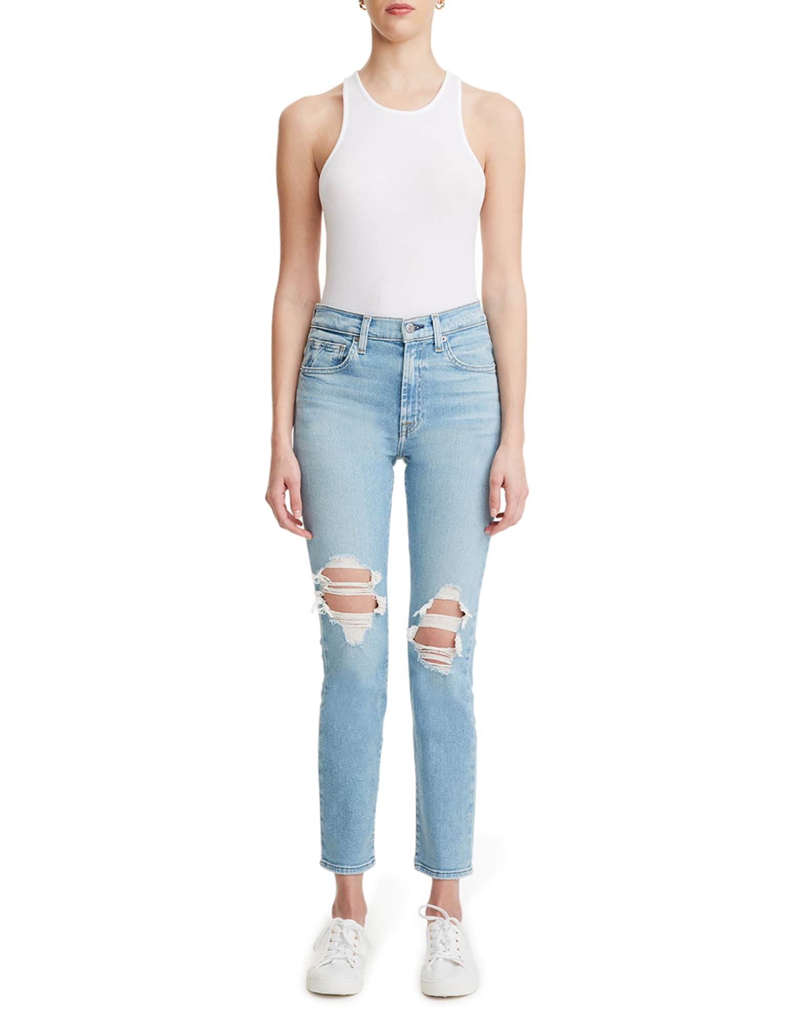 7 FOR ALL MANKIND Peggi Distressed Ankle Jeans