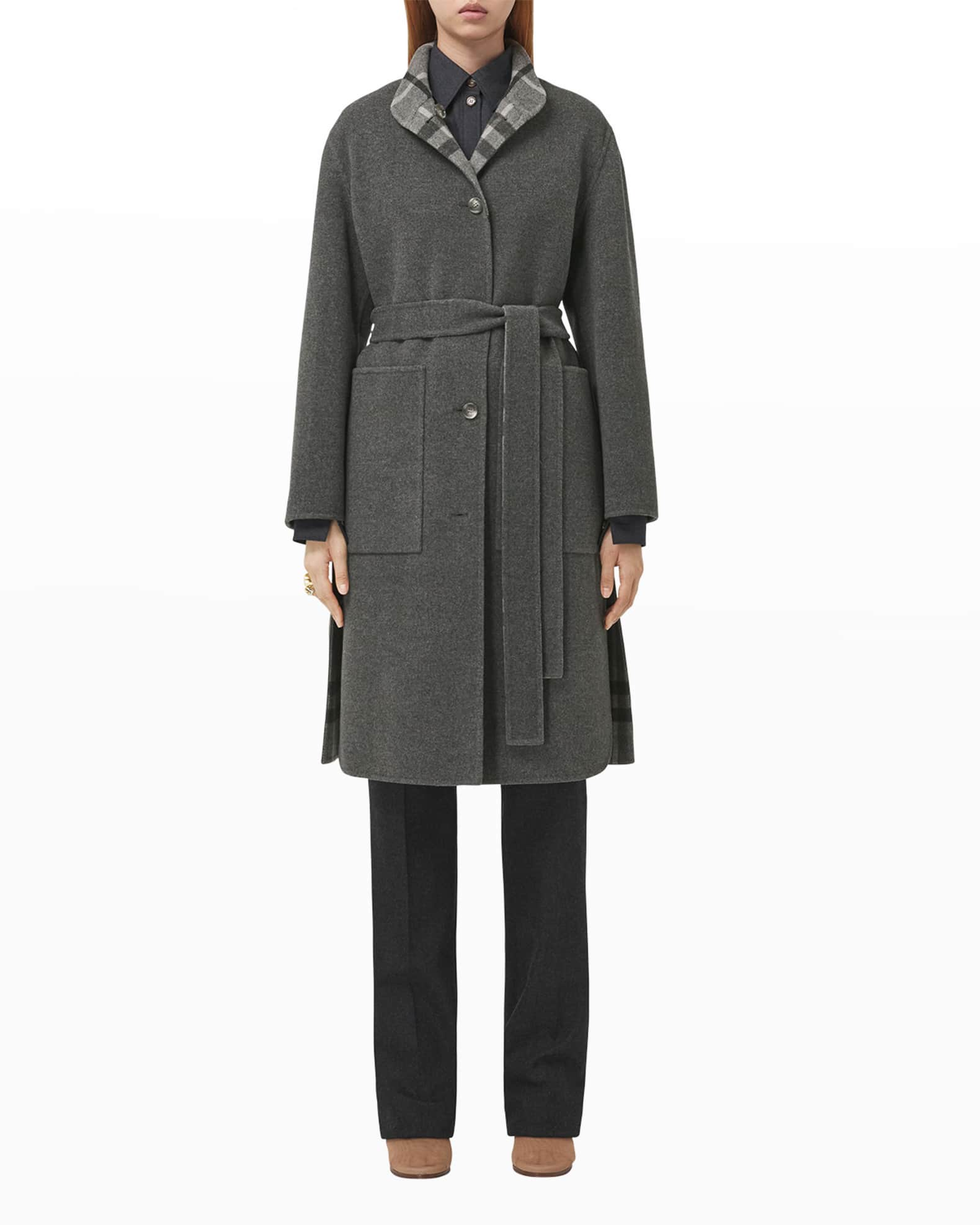 BURBERRY Vassal Reversible Check Wool Coat