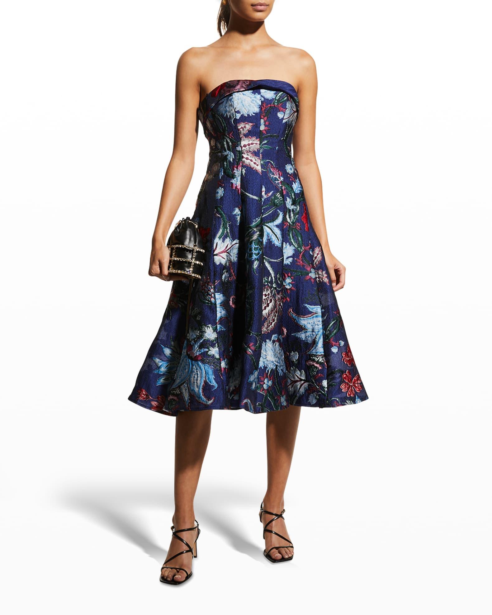 MARCHESA NOTTE Strapless Floral Cocktail Dress