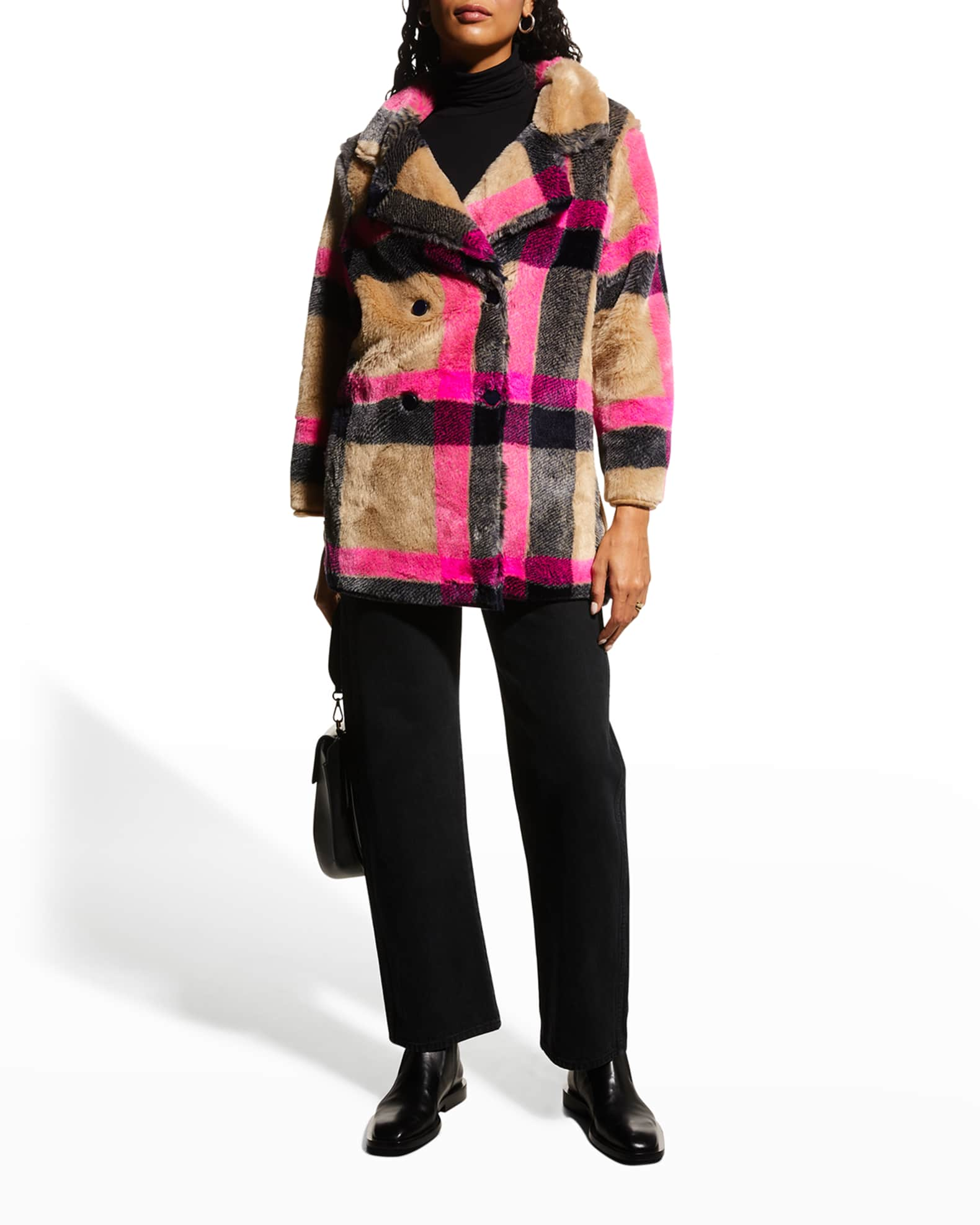 VILAGALLO Alba Double-Breasted Faux-Fur Coat